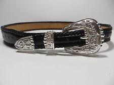 JUSTIN Belt Size 34 Black Embossed Leather Silver Tone Buckle Hardware C10533