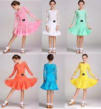 Childrens Latin Salsa Ballroom Dance Dress Girls Dancewear Costumes