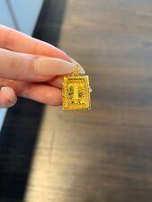 24k Solid Versace Frame Diamond Cut Square Letter Pendant 8.26 Gram