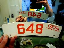 One 2-SIDED GRENADA License Plate Tag MOTORCYCLE 1974 PORCELAIN.