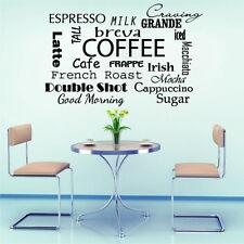 Wall Decals Coffee Espresso Milk Decal Vinyl Sticker Kitchen Cafe Decor MS710