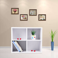 4 Cube Wood Corner Bookcase Storage Cabinet Rack Bookshelf Display Cupboard Unit
