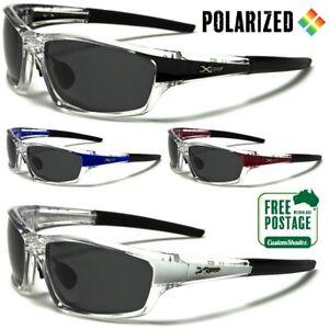 Xloop Men's Polarized Sunglasses - Clear Wrap Around Frame - Polarised Lens