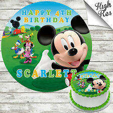 MICKEY MOUSE CLUBHOUSE EDIBLE ROUND BIRTHDAY CAKE TOPPER DECORATION PERSONALISED