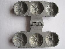 Antique pewter ice mould of 3 small tangerine shapes by Letang Fils, France