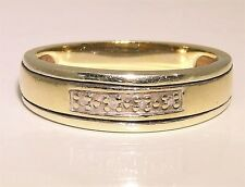 A FINE 9CT 9KT YELLOW & WHITE GOLD DIAMOND ETERNITY WEDDING RING  M
