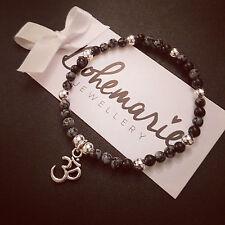 Snowflake obsidian mini om aum beaded bracelet gemstone jewellery boho gypsy
