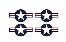 "Set of 4 Remote Control (RC2) Red Blue White Stars & Bar 9"" RC Airplane Stickers"