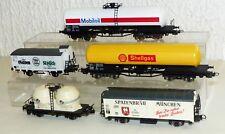 5x Güterwagen Lima uä: Mobiloil Shellgas Spaten OMYA Gilden Kölsch
