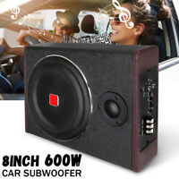 "8"" 600W Car Subwoofer Speaker Active Under Seat Slim Sub Woofer AMP Super t"