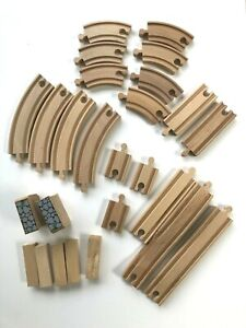 Wooden Train Track Assortment Compatible with Brio 21 Pieces