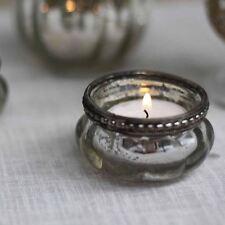 1 x Mini Mercury Silver Tea Light Holders with Metal Rim (Weddings / Home)