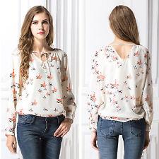 Womens Spring Long Sleeve Tops Casual Loose Chiffon Shirt Floral Print Blouse