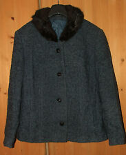 Blue coat, genuine fur Size 10 S with wool. Excellent quality and condition