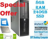 HP Elite 8200 SFF Intel Core i5 8GB RAM 240GB SSD Windows 10 Desktop PC WiFi