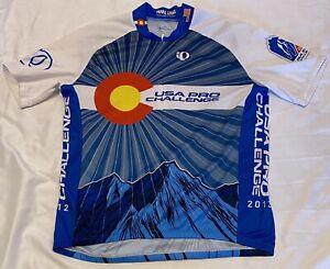 Pearl Izumi Men's Blue/White Custom Select USA Pro Challenge Cycling Jersey Sz L