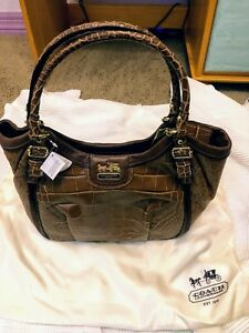 Brand new Coach carmel and dark brown leather faux snakeskin purse