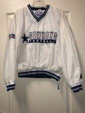 Starter Pro Line Vtg NFL Dallas Cowboys Size M V-Neck Nylon Pullover WHITE