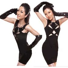 Gothic Punk Black Clubwear Wet Look Long Gloves PVC Costume Stretchy