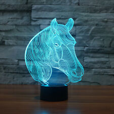 Horse 3D Night light LED Acrylic Table Lamp Touch Swithch 7-color Xmas Gift