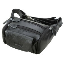 Black Men Real Leather Bum Waist Belt Bag Fanny Pack Sports Travel Running Pouch