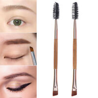 Beauty Makeup Bamboo Handle Eyebrow Brush + Eyebrow Comb Double-Ended Brushes TE