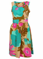 LADIES EX DOROTHY PERKINS YELLOW GREEN FLORAL SUMMER SUN DRESS SIZE 12-18