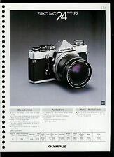 Factory 1978 Olympus Zuiko MC 24mm F2 Camera Lens Dealer Data Sheet Page