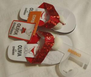 Gymboree Olivia Size 9-10 Red Glitter Flip Flops Summer Sandals NWT