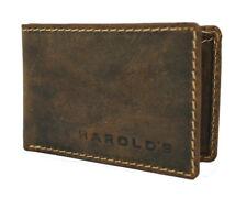 Vintage Rindsleder Herren Ledergeldbörse Klein Brieftasche Portemonnaie Harold`s