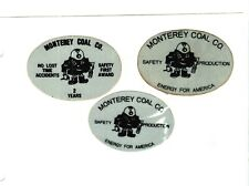 Nice Set Of 3 Safe Years Midwest Monterey Coal Co. Coal Mining Stickers # 1389
