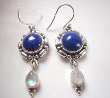 Moonstone Lapis Round and Teardrop 2-Gem 925 Sterling Silver Dangle Earrings