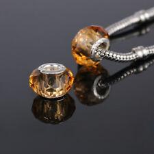 5pcs Gold Glass Crystal Beads lampwork For European Bracelet&Bangle