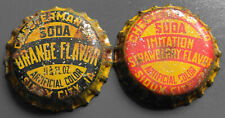 Vintage Used Chesterman Strawberry & Orange Cork Bottle Caps - Sioux City, IA.