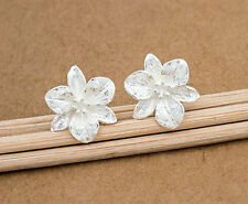 Stud Earrings 12mm. 925 Sterling Silver Flower