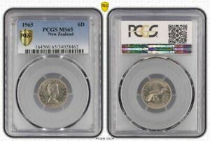 1965 NEW ZEALAND SIX PENCE  BU PCGS MS65 OLD COIN IN HIGH GRADE