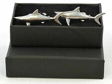 Shark Great White? Mako? Tiger? Fine English Pewter Cufflinks Gift Mens Boxed