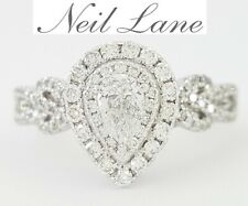 Neil Lane Bridal 0.87 ct 14K White Gold Pear Cut Diamond Halo Engagement Ring