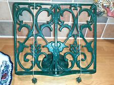 Cook Book Stand Rustic Cast Iron Metal Kitchen Recipe Stand Book Holder Green