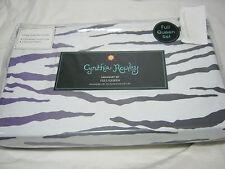 New Cynthia Rowley Full/Queen Duvet Cover & Shams Set - Purple Gray Zebra Print