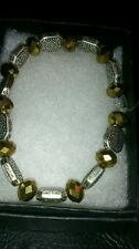 hand-made bracelet -gold/silver patterned beads - girls/ladies