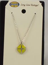 Fossil Brand Stainless Steel Yellow Signature Pendant Necklace JF00366