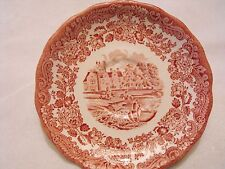 """Royal Worcester Palissy Avon Scenes Pink Red 5 1/4"""" Saucer"""