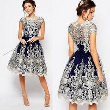 Women Vantage Lace Floral Short Sleeve Evening Formal Cocktail Party Dress A053