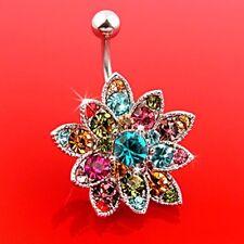 RAINBOW CZ GEMS FLOWER PETAL BELLY RING FANCY BUTTON PIERCING JEWELRY B605