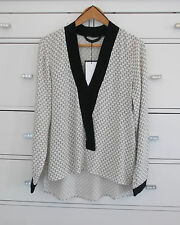 ZARA Nero Bianco Stampato Kimono lunga blusa con collo a contrasto M nuova con etichetta