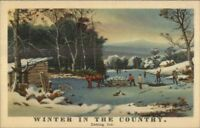 Currier & Ives Linen Postcard - Ice Harvesting WINTER IN THE COUNTRY Postcard