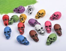 50pcs Multi-Color acrylic Day of the Dead Skull Skull Beads Spacer 12X22mm