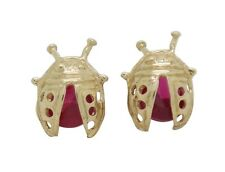 10K Solid Yellow Gold CZ Ladybug Earrings
