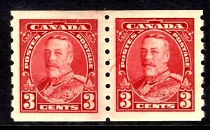 "CANADA #230i 3c DARK CARMINE COIL ""JUMP UP"" PAIR, 1935 KGV, MLH"